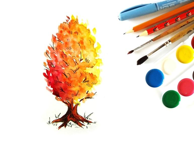 Как нарисовать акварелью осеннее дерево