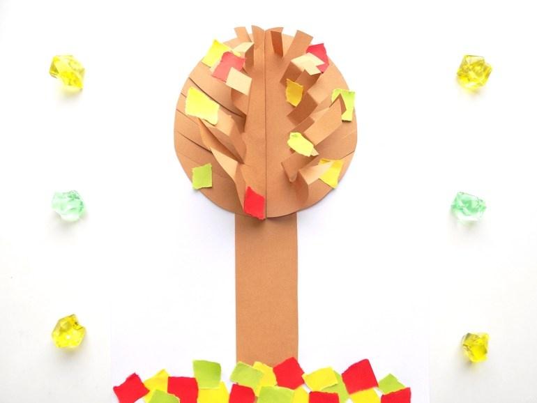 Простые поделки с детьми. Объёмная аппликация Осеннее дерево