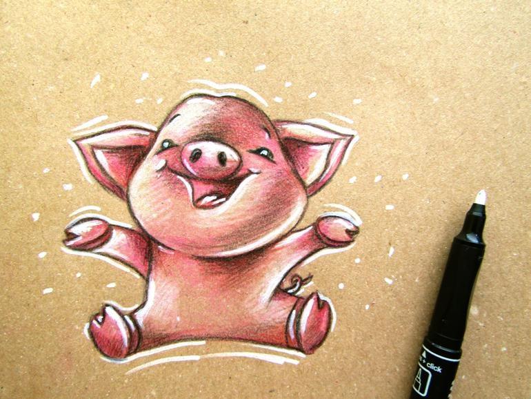 Как нарисовать свинью на крафтовой бумаге