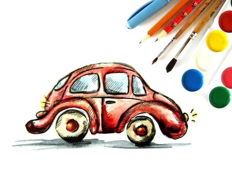 Как нарисовать машину акварелью