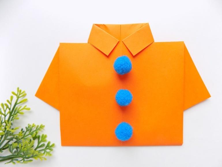 Оригами для малышей. Рубашка из бумаги