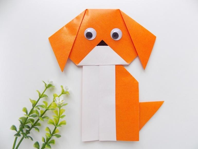 Как сделать из бумаги собаку в технике оригами