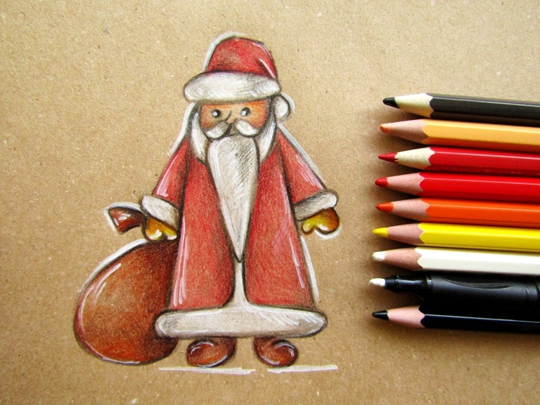 Как нарисовать Деда Мароза на крафт-бумаге