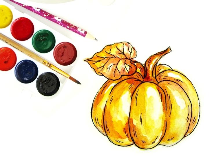Как нарисовать тыкву акварелью