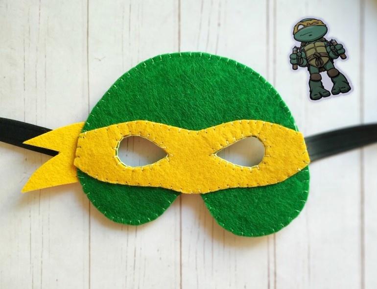 Как сделать маску из фетра в виде черепашки-ниндзя