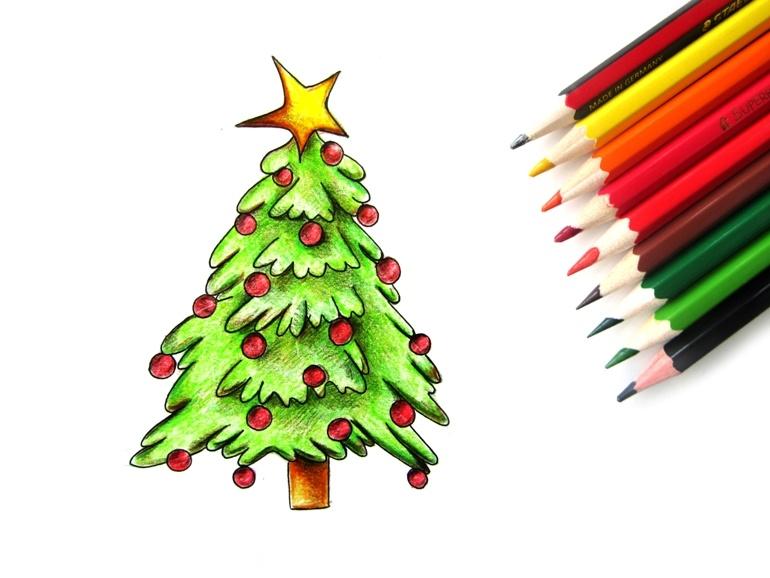 Как нарисовать цветными карандашами новогоднюю ёлку