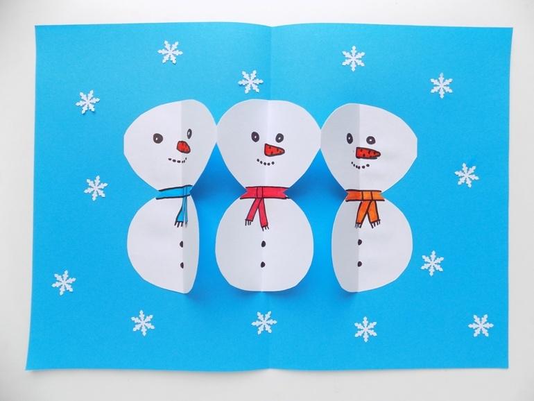 Как сделать новогоднюю открытку со снеговиками