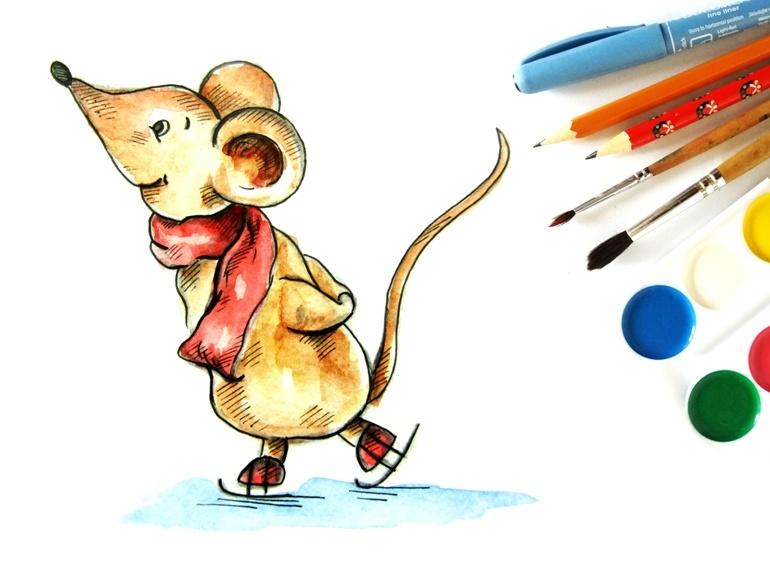 Как нарисовать акварелью мышонка на коньках
