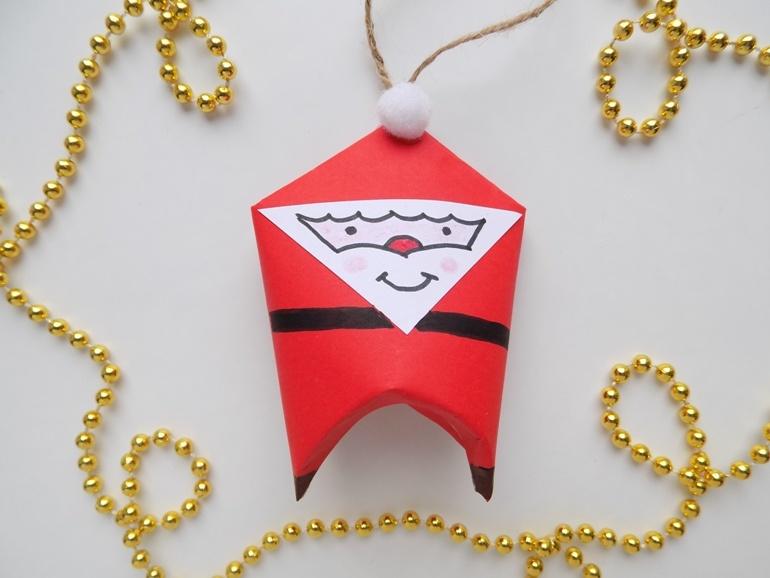 Как сделать ёлочную игрушку в виде Деда Мороза из картона