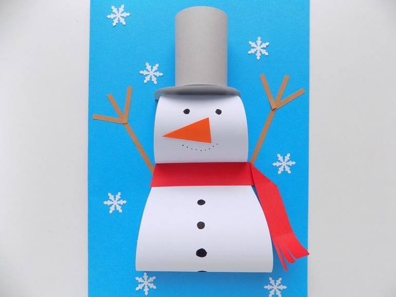 Как сделать открытку с объёмным снеговиком