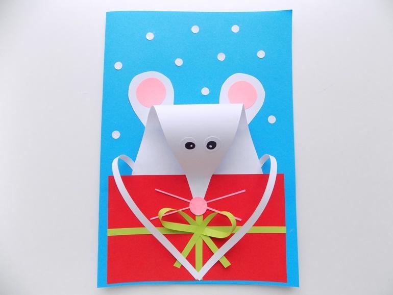 Как сделать открытку с объёмной мышкой