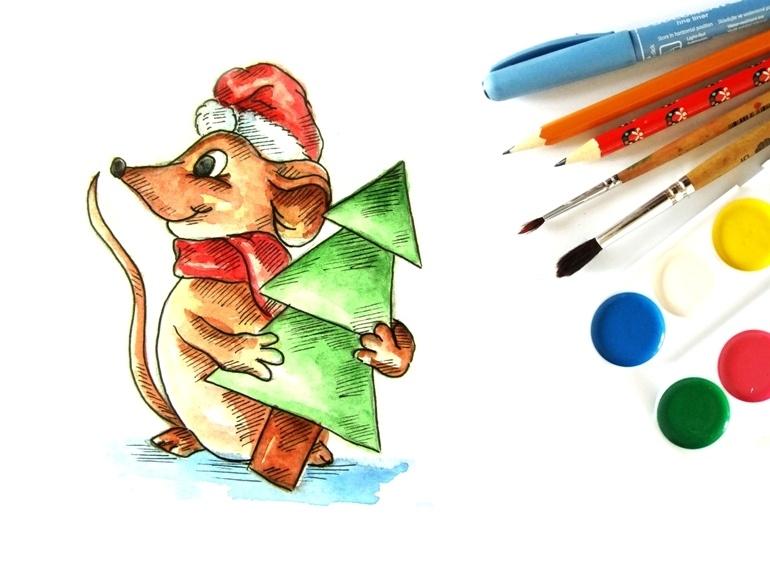 Как нарисовать акварелью мышку с ёлочкой