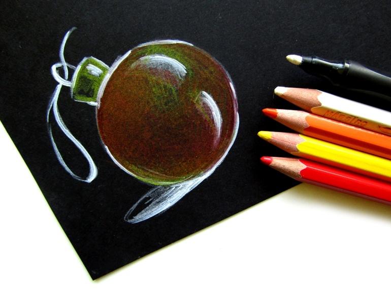 Как нарисовать ёлочный шар цветными карандашами на чёрном листе