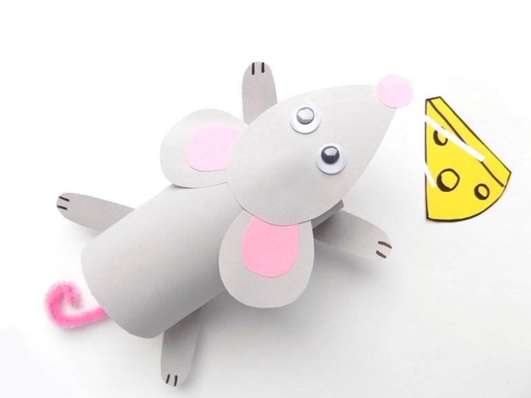 Как сделать мышку из картонной втулки