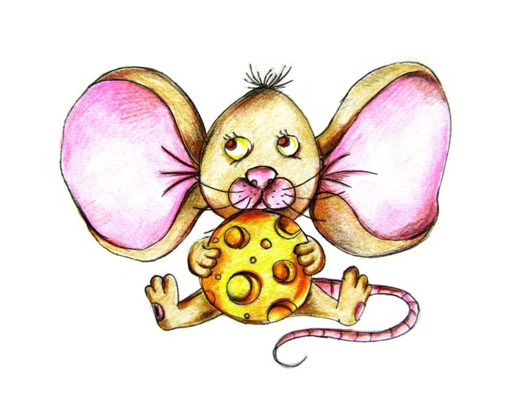 Как нарисовать мышонка с сыром цветными карандашами