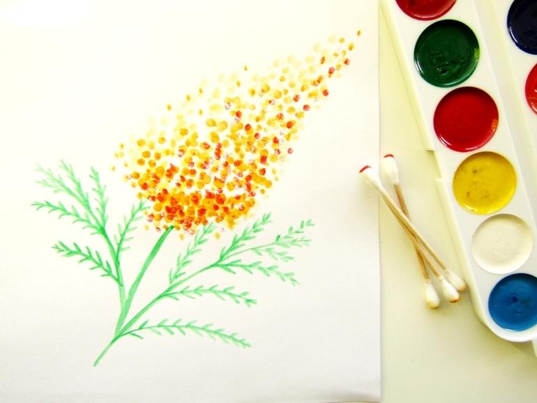 Как нарисовать мимозу ватными палочками