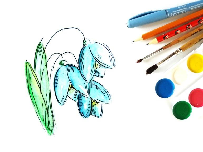 Как нарисовать подснежники акварелью