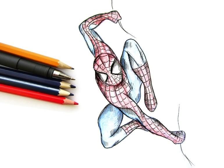 Как нарисовать Человека-паука цветными карандашами