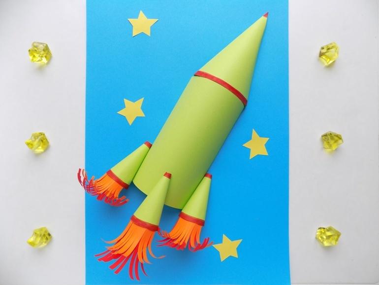 Как сделать объёмную аппликацию с ракетой