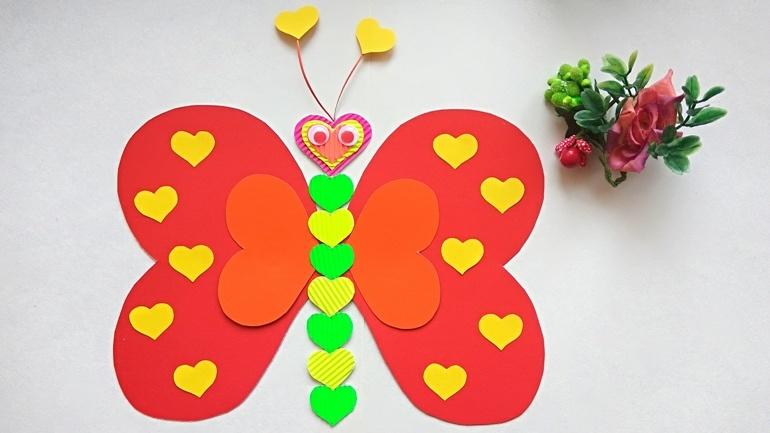 Как сделать бабочку из бумажных сердечек