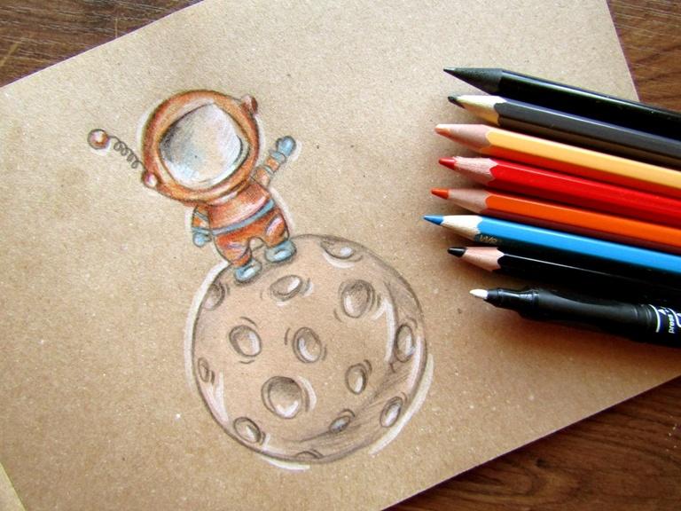 Как нарисовать космонавта на крафтовой бумаге