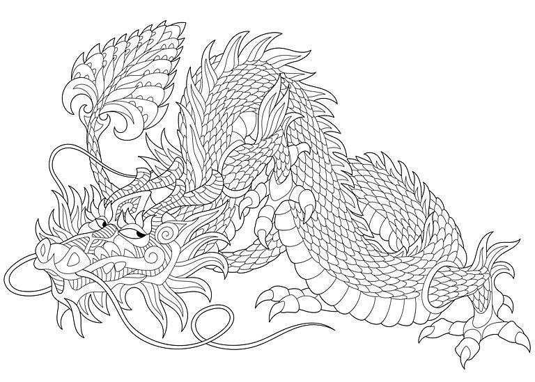 раскраска антистресс дракон скачать и распечатать шаблон