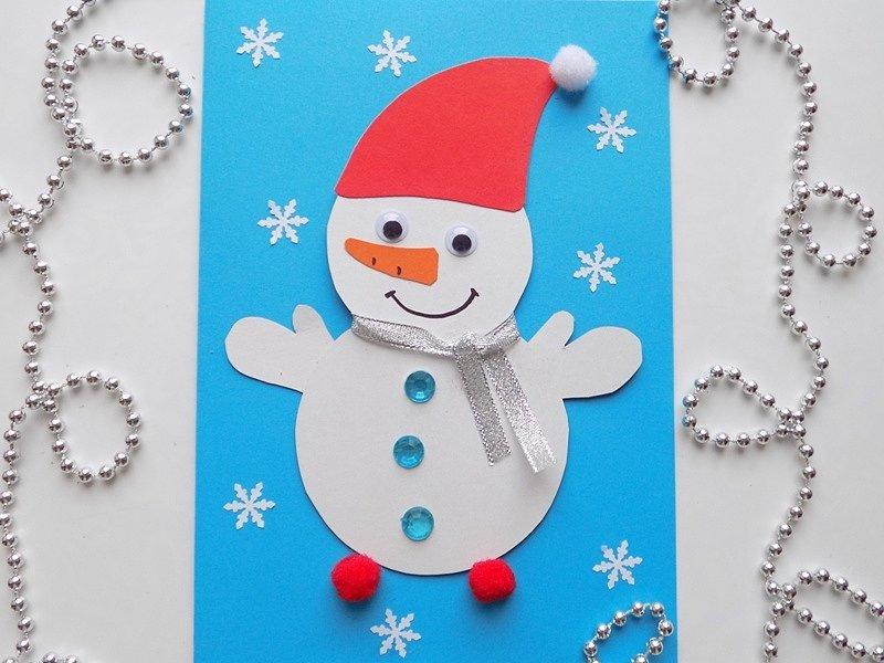новогодняя открытка со снеговиком своими руками надо чём-то