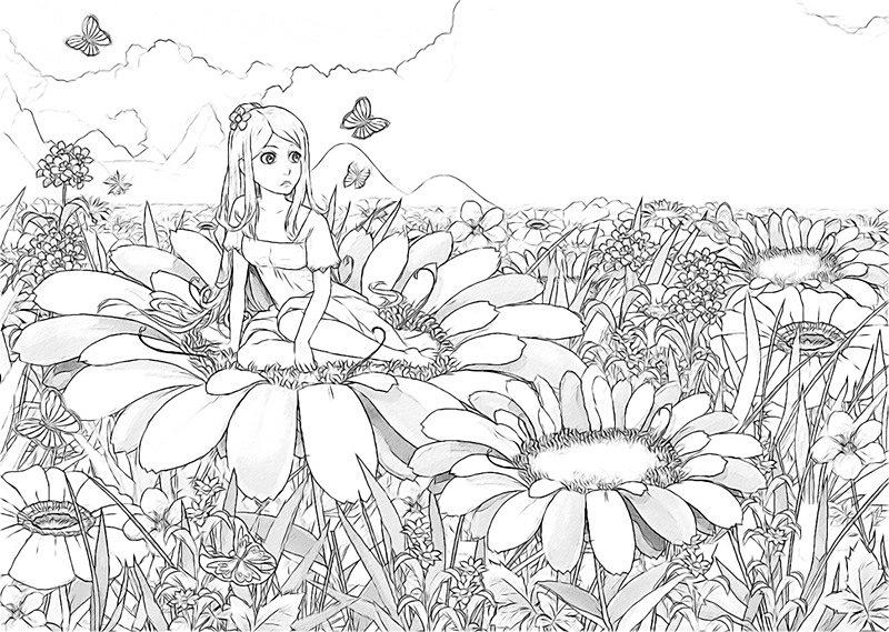 раскраска антистресс фея цветов скачать и распечатать