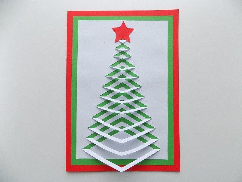 Поздравительных, новогодняя открытка с объемной елочкой в середине