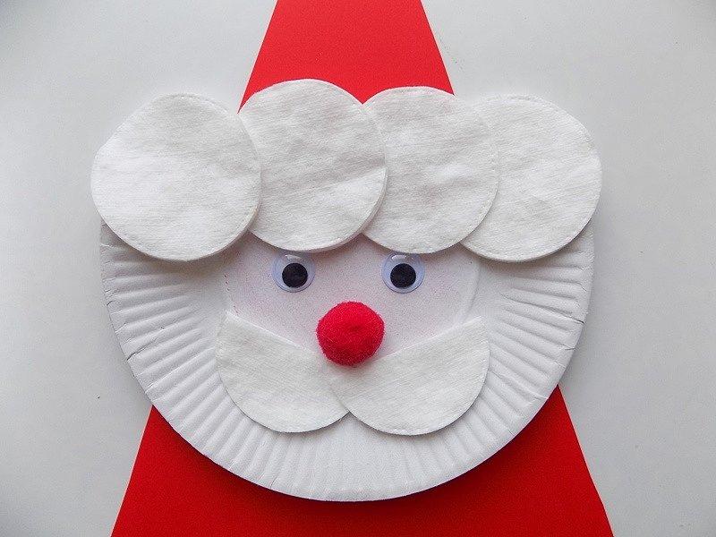 Дед мороз открытка из ватных дисков