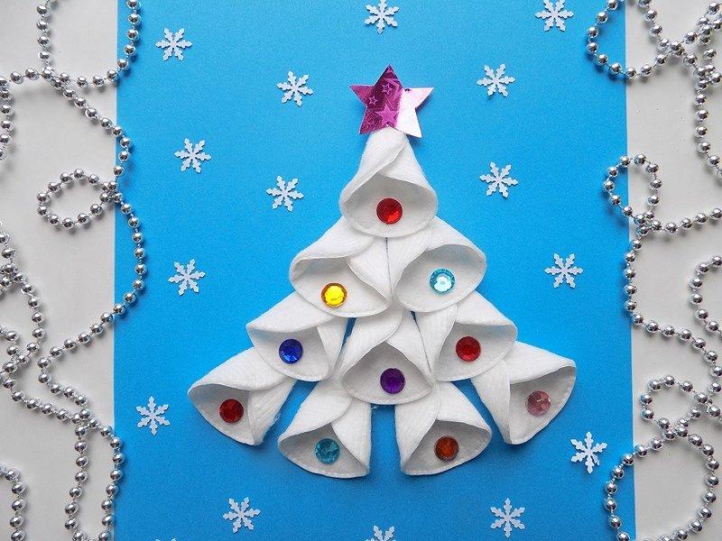 Поздравлением, рождественские открытки своими руками для детей из ватных дисков