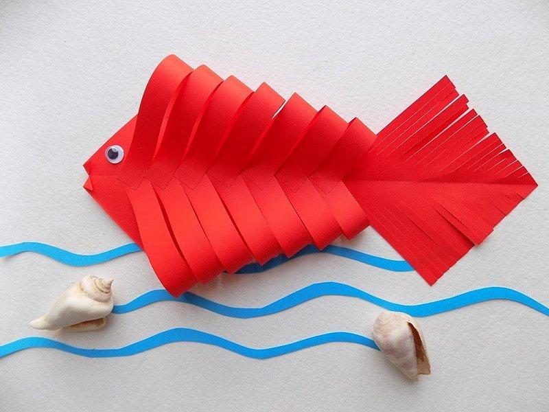 Поделка с бумаги рыбка
