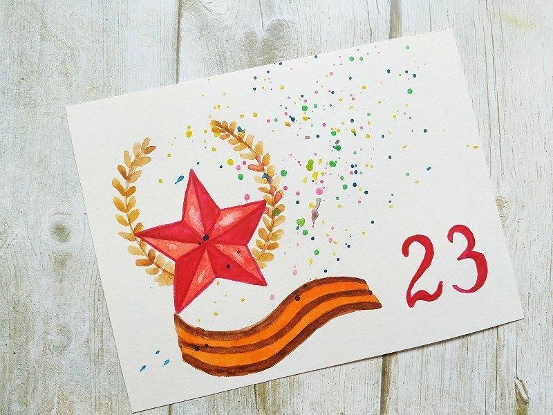 Что можно нарисовать на открытки к 23 февраля