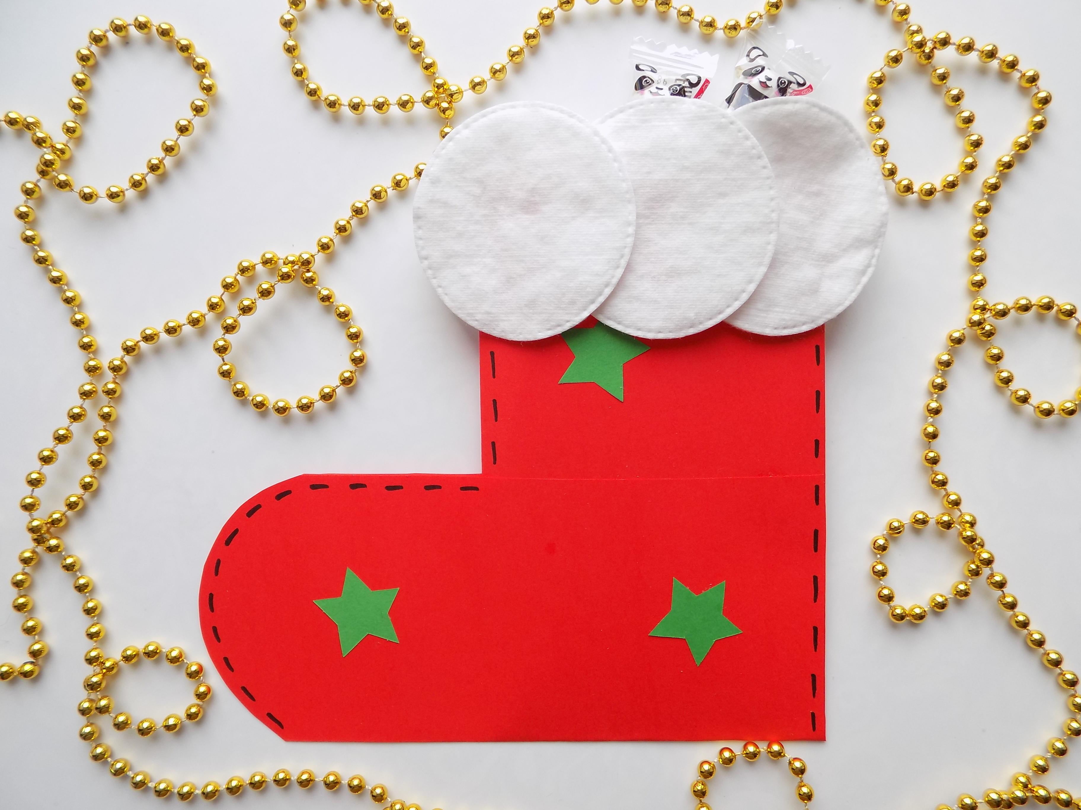 Как сделать новогодний сапожок из бумаги