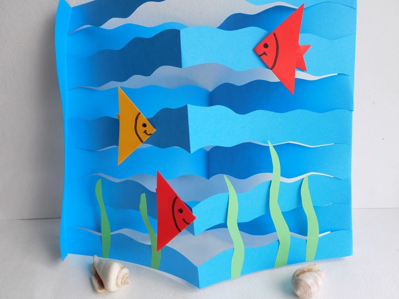 Объемная поделка из бумаги на морскую тематику