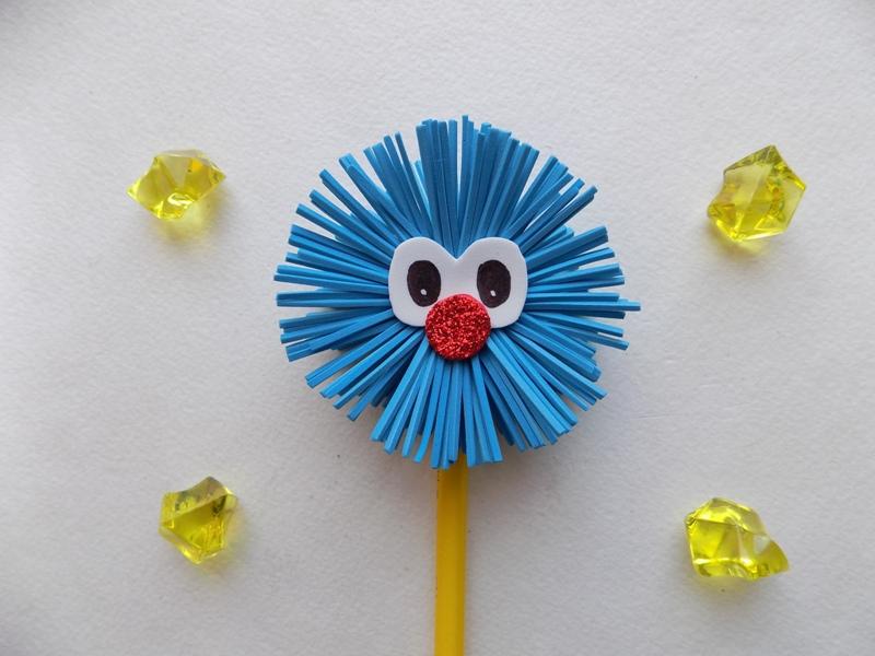Как сделать пушистика на карандаш из фоамирана