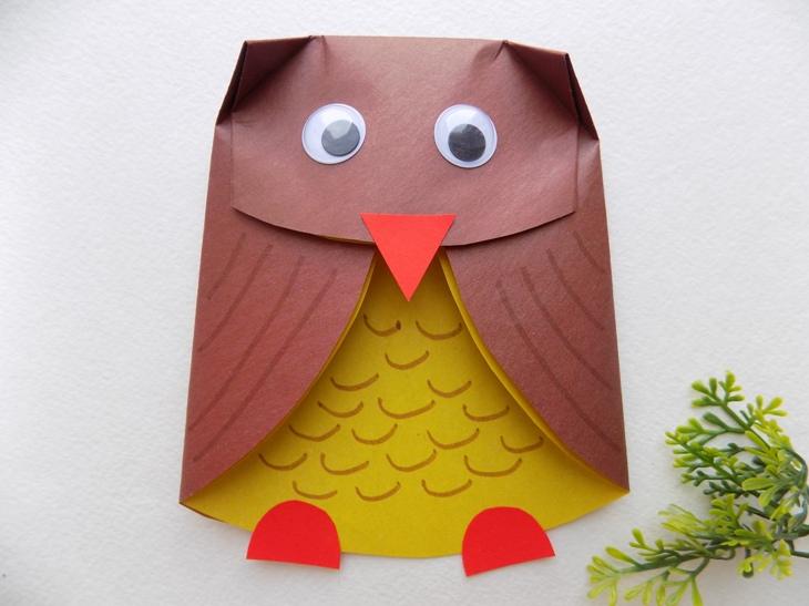 Как сделать сову из бумаги (игрушка на руку)