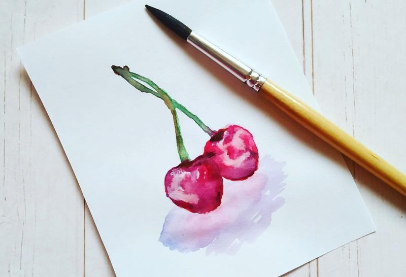 Как нарисовать скетч акварелью Ягоды вишни