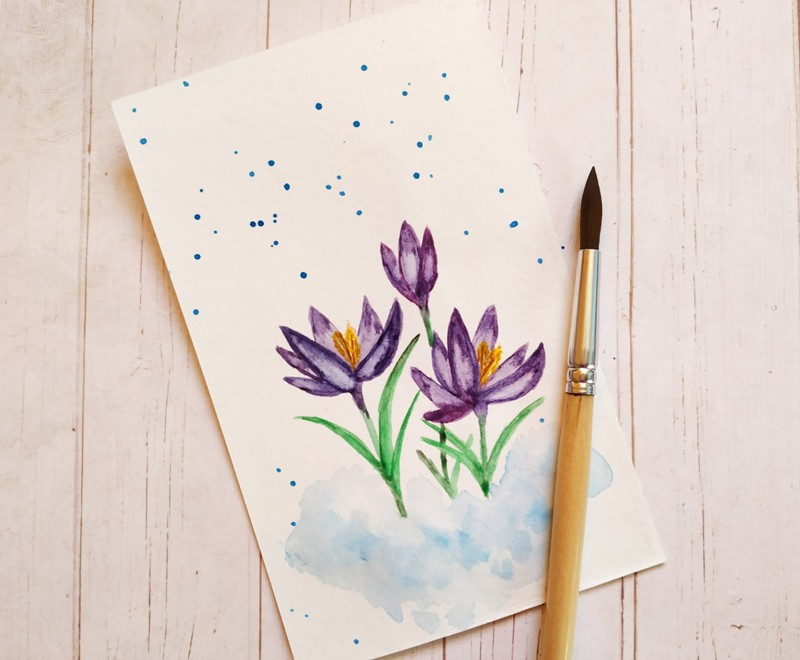 Как нарисовать акварелью весенние крокусы