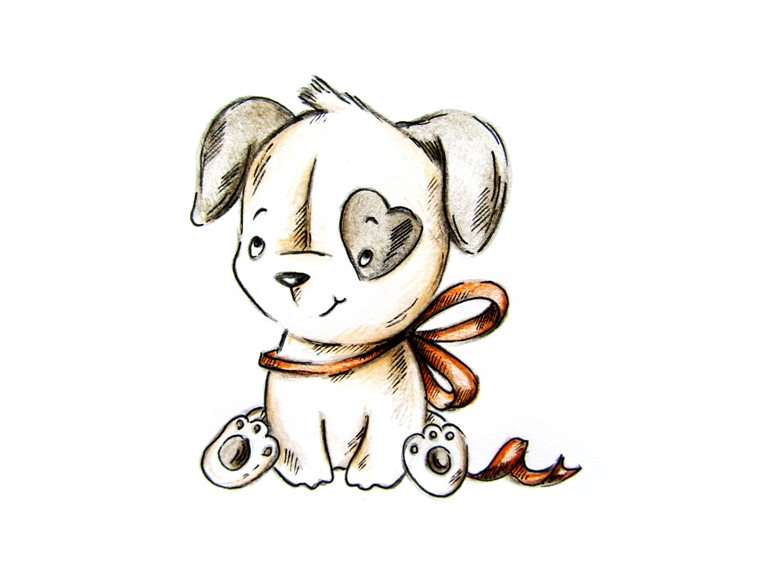 Как нарисовать щенка цветными карандашами