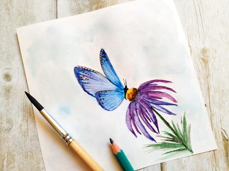 Как нарисовать акварелью бабочку на цветке