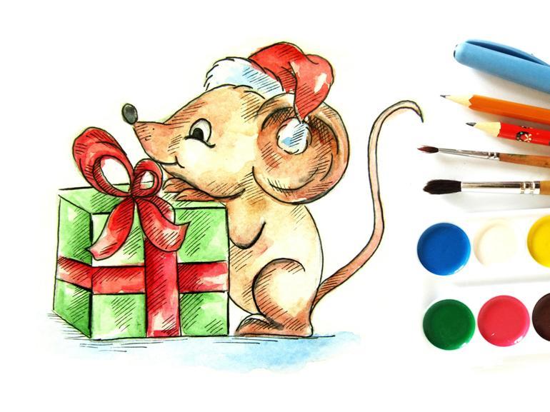 Как нарисовать акварелью мышонка с новогодним подарком