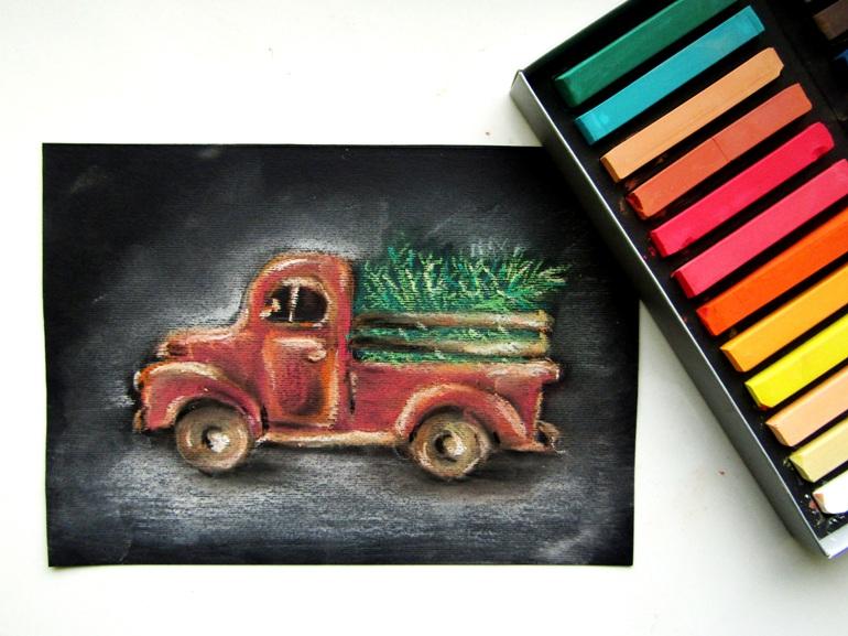 Как нарисовать пастелью на черной бумаге машину с ёлкой