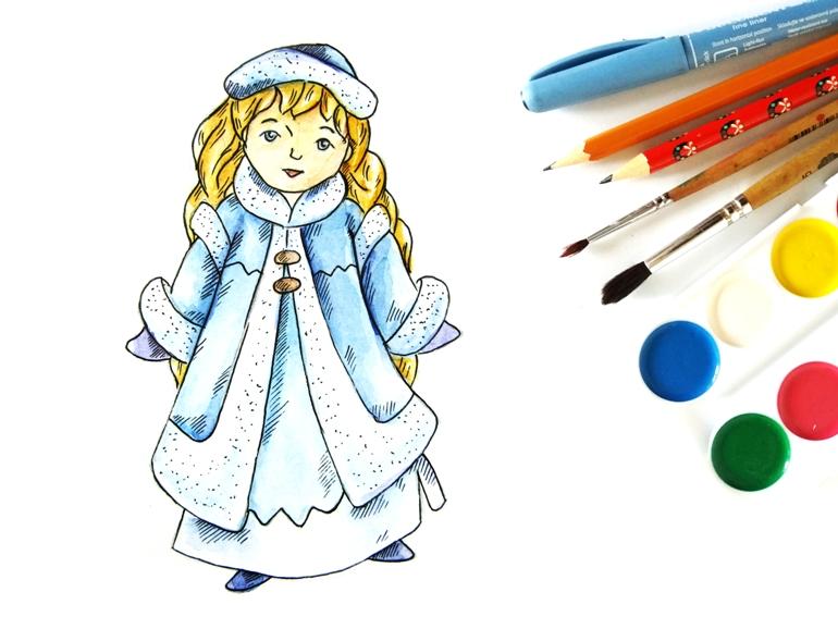 Как нарисовать Снегурочку акварелью