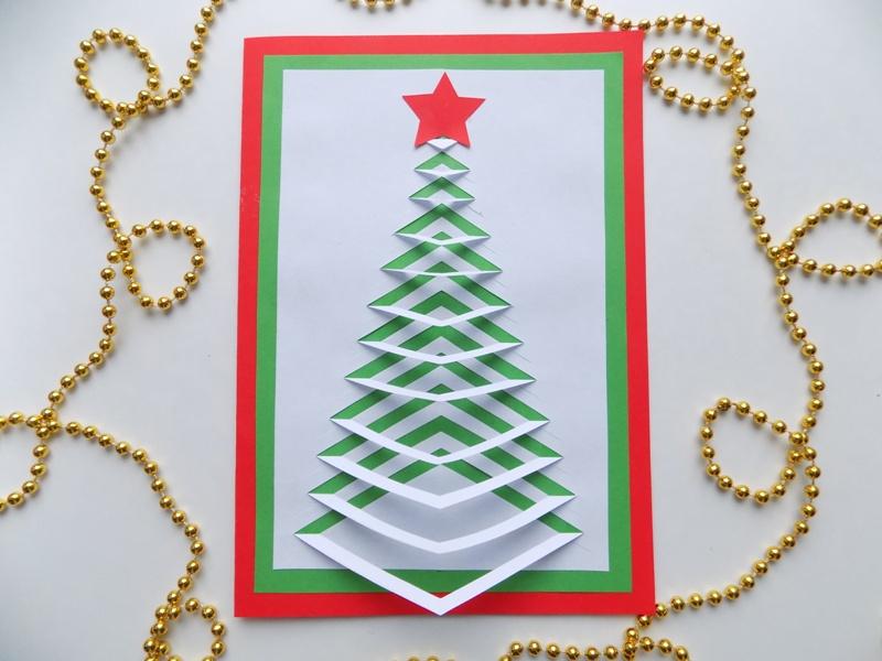 Как сделать новогоднюю открытку с ёлочкой из бумаги