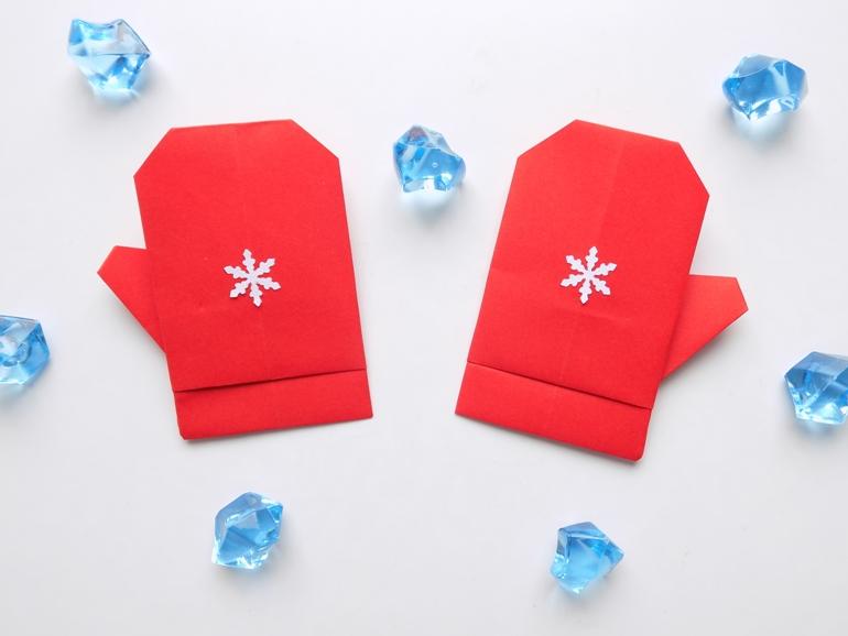Как сделать варежки из бумаги в технике оригами