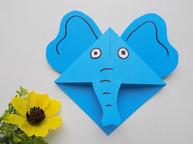 Как сделать закладку из бумаги в виде слоника