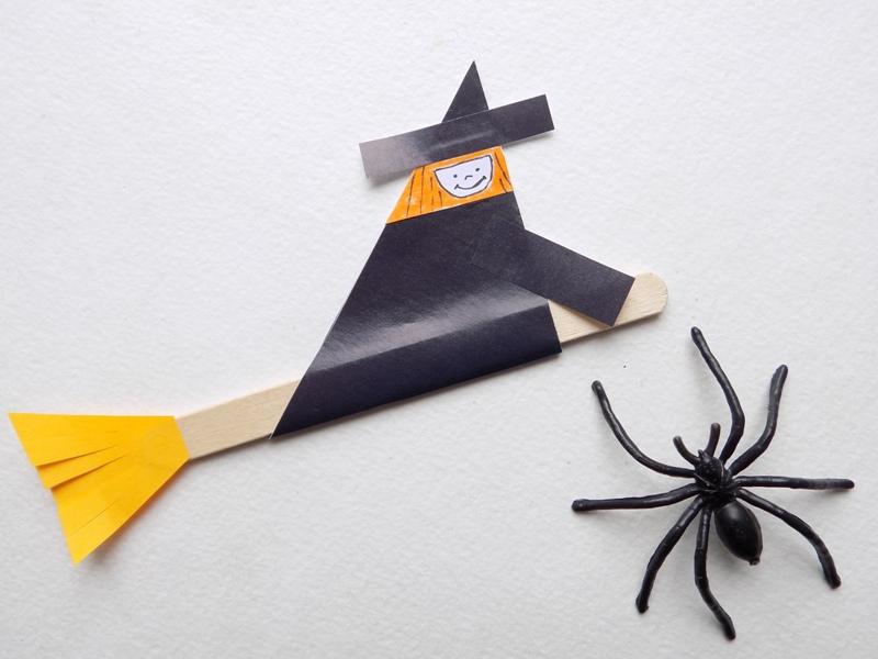 Поделки к Хэллоуину. Ведьма на метле