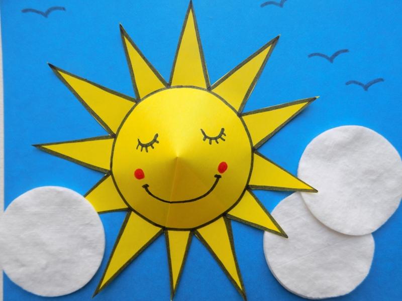 Простые поделки с детьми. Объёмная аппликация Солнышко на небе