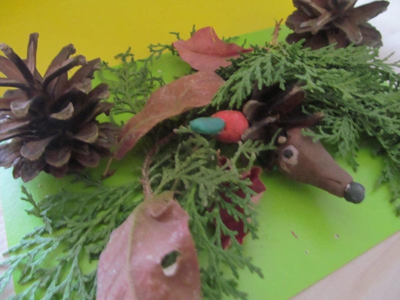 Поделки из природных материалов. Ёжик в осеннем лесу